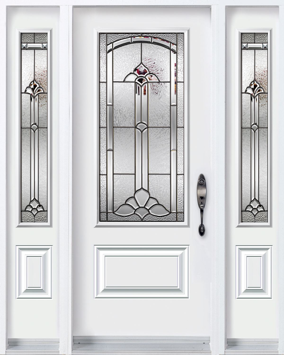 Door with 2 sidelites with Cathedrale glass kits