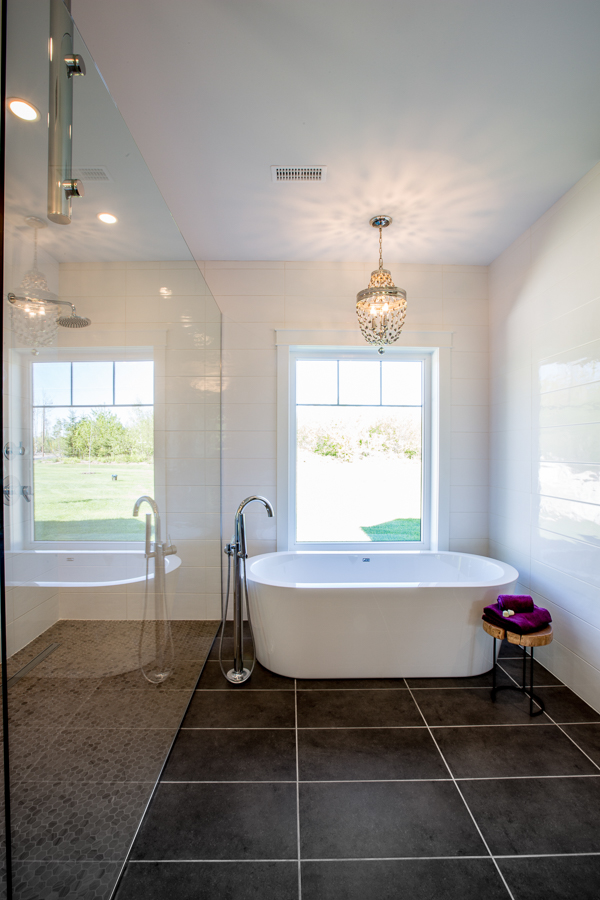 elegant bathroom with large fixed window