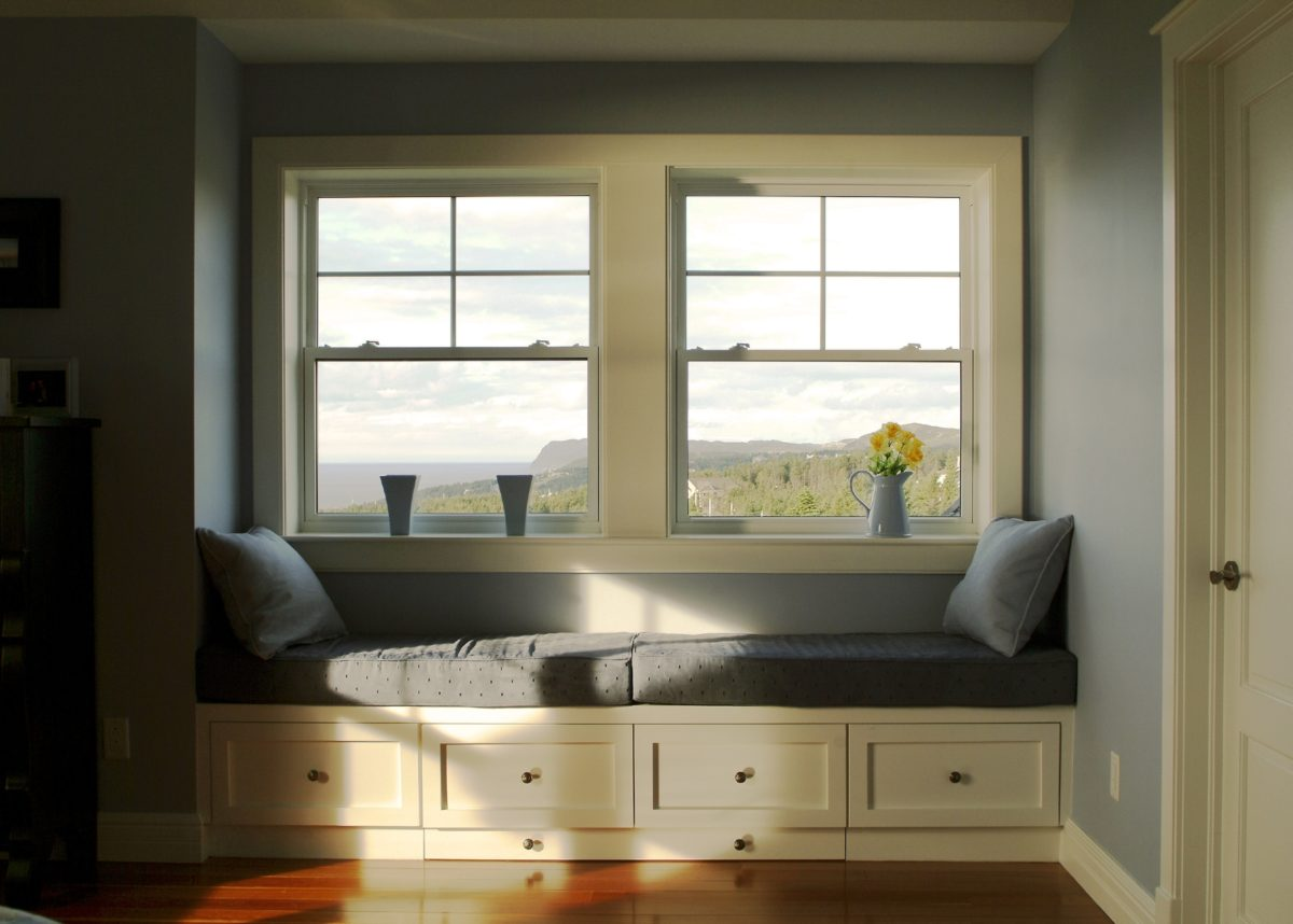 Two double hung windows with beautiful view