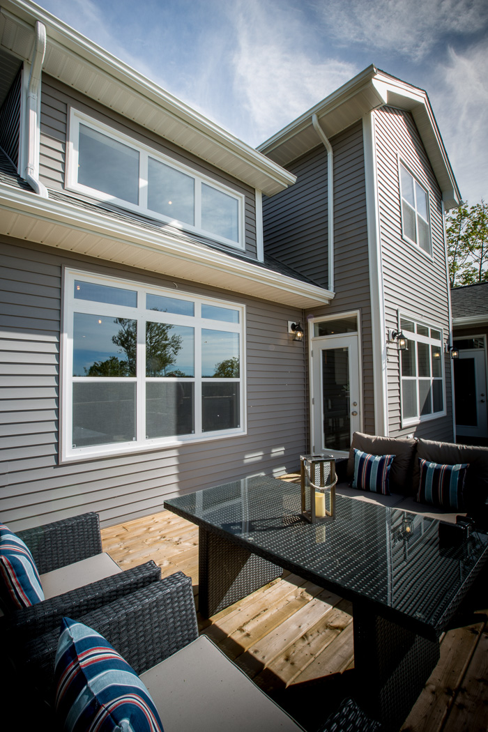 Patio with select single hung windows - exterior