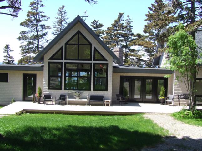 Black Exterior Windows and garden doors in a backyard