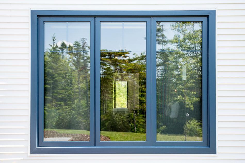 A Single Wedgewood Blue Casement Window