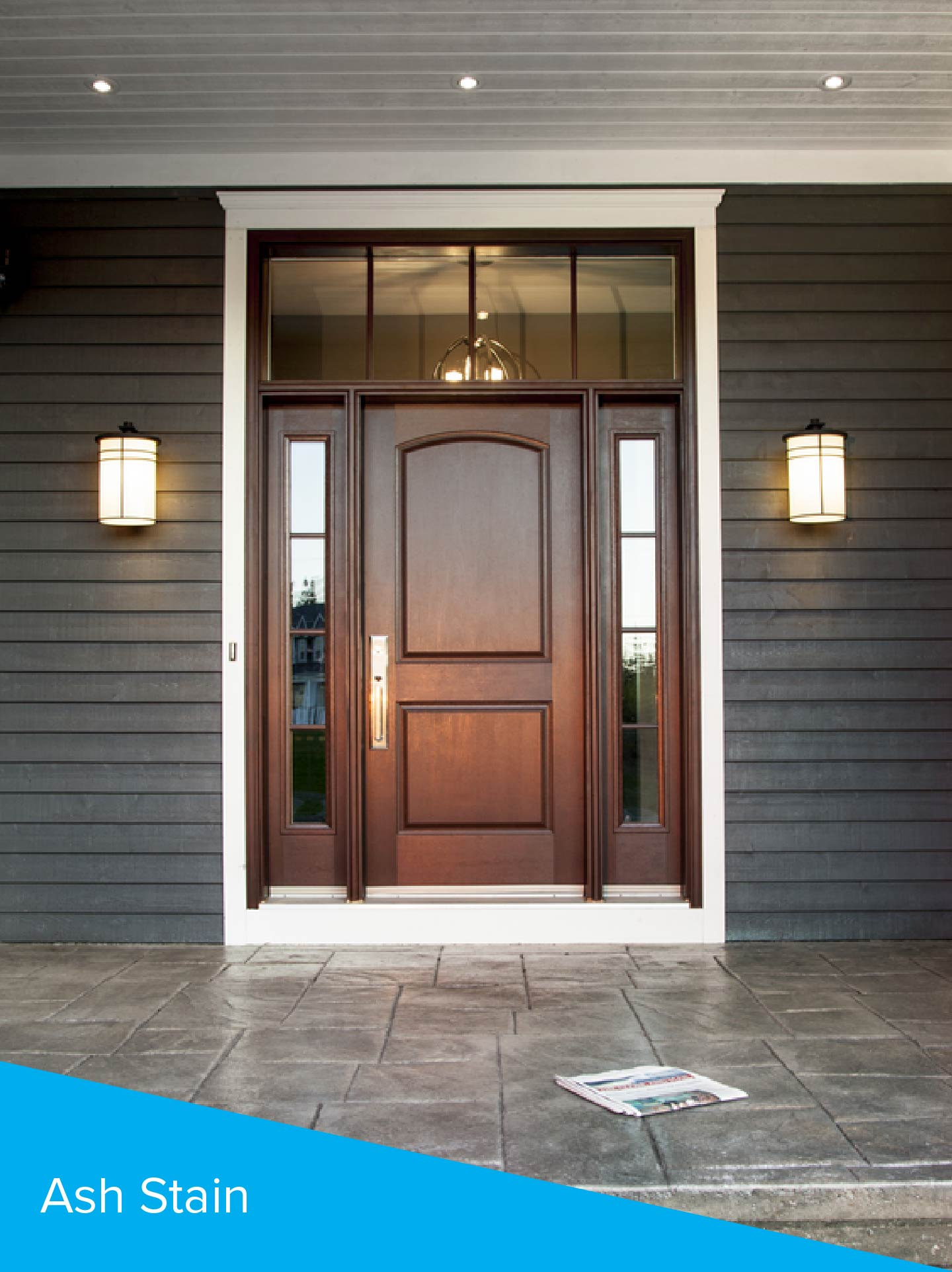 Ash Stained Front Door with Sidelites and Transom