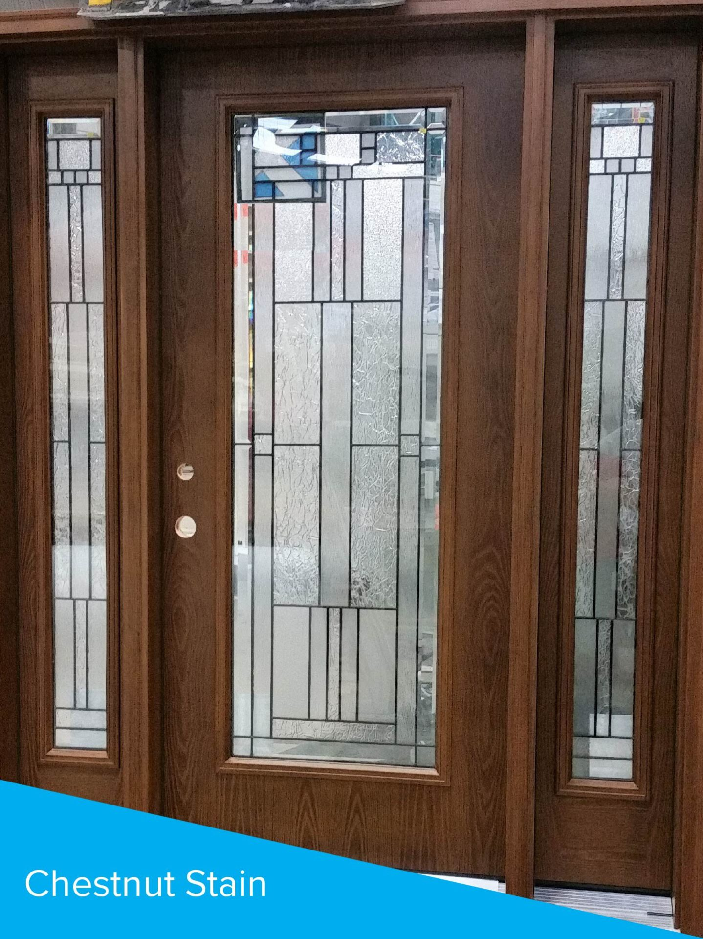 chestnut stained door with sidelites