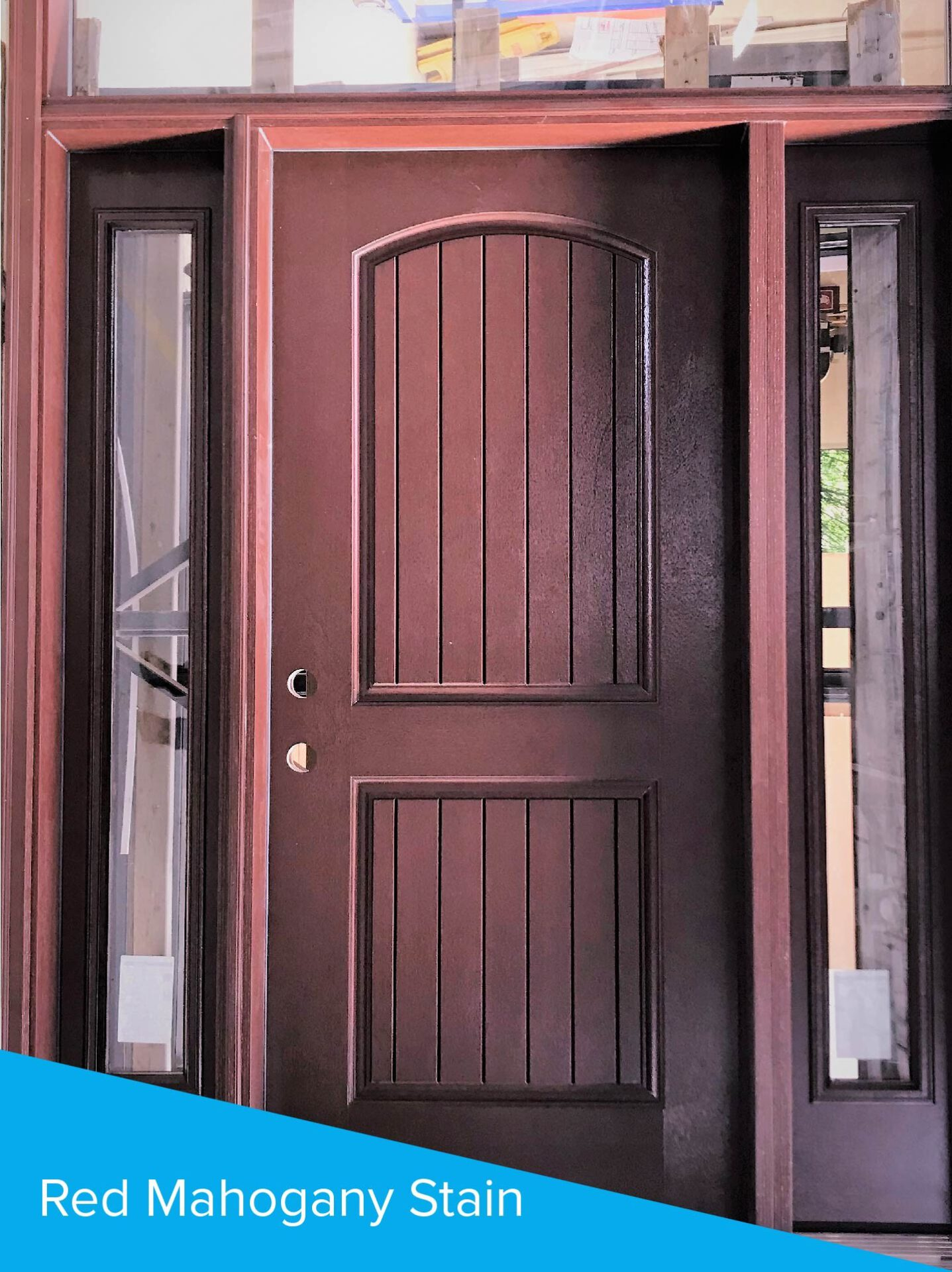 Red Mahogany stained door with sidelites